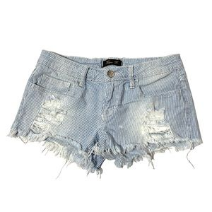 Klique Shorts Stripes Blue And White Distressed XS